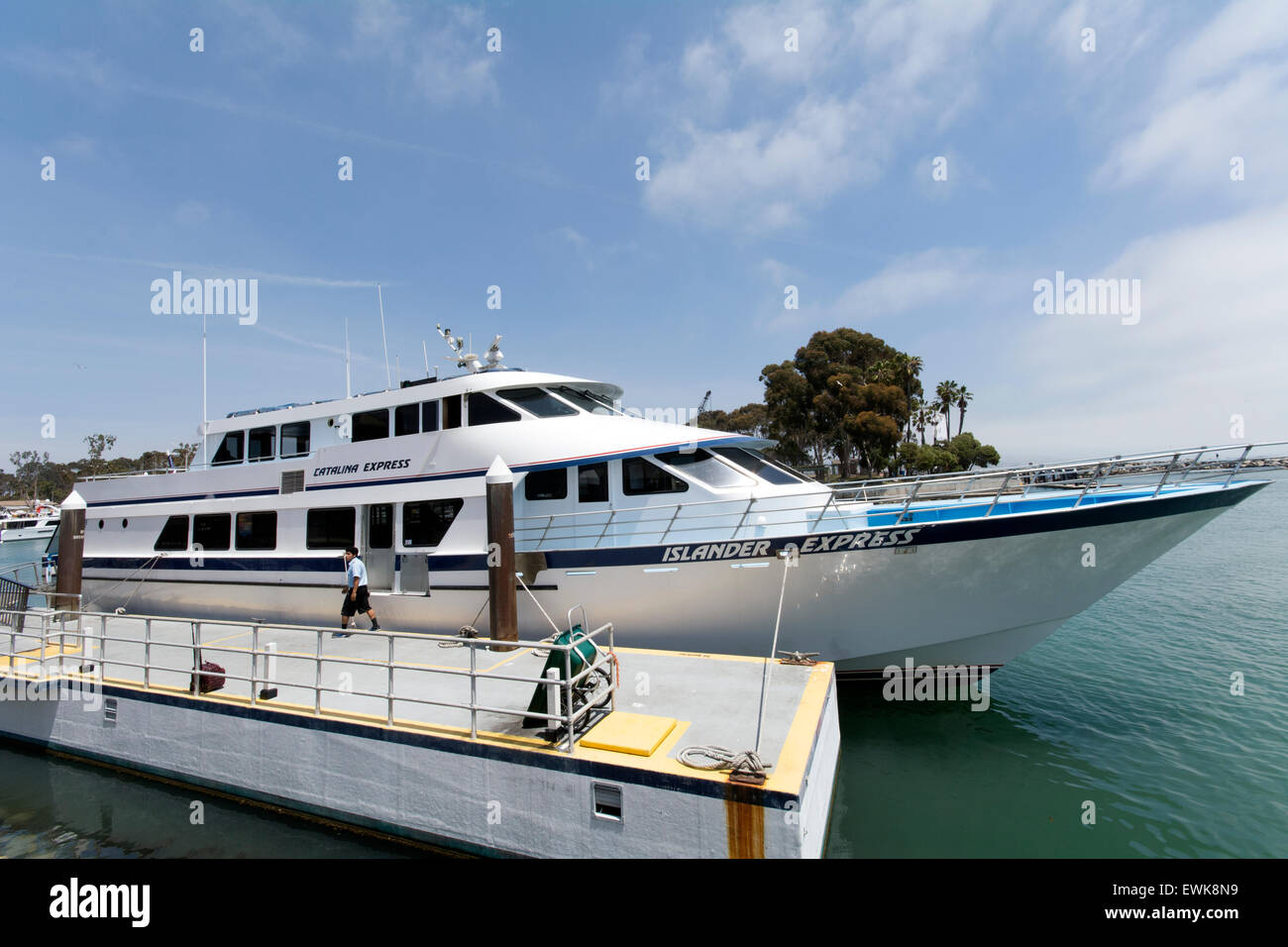 View of the Catalina Express ferry from Dana Point. to Avalon an Catalina Island off the Californian coast. - Stock Image