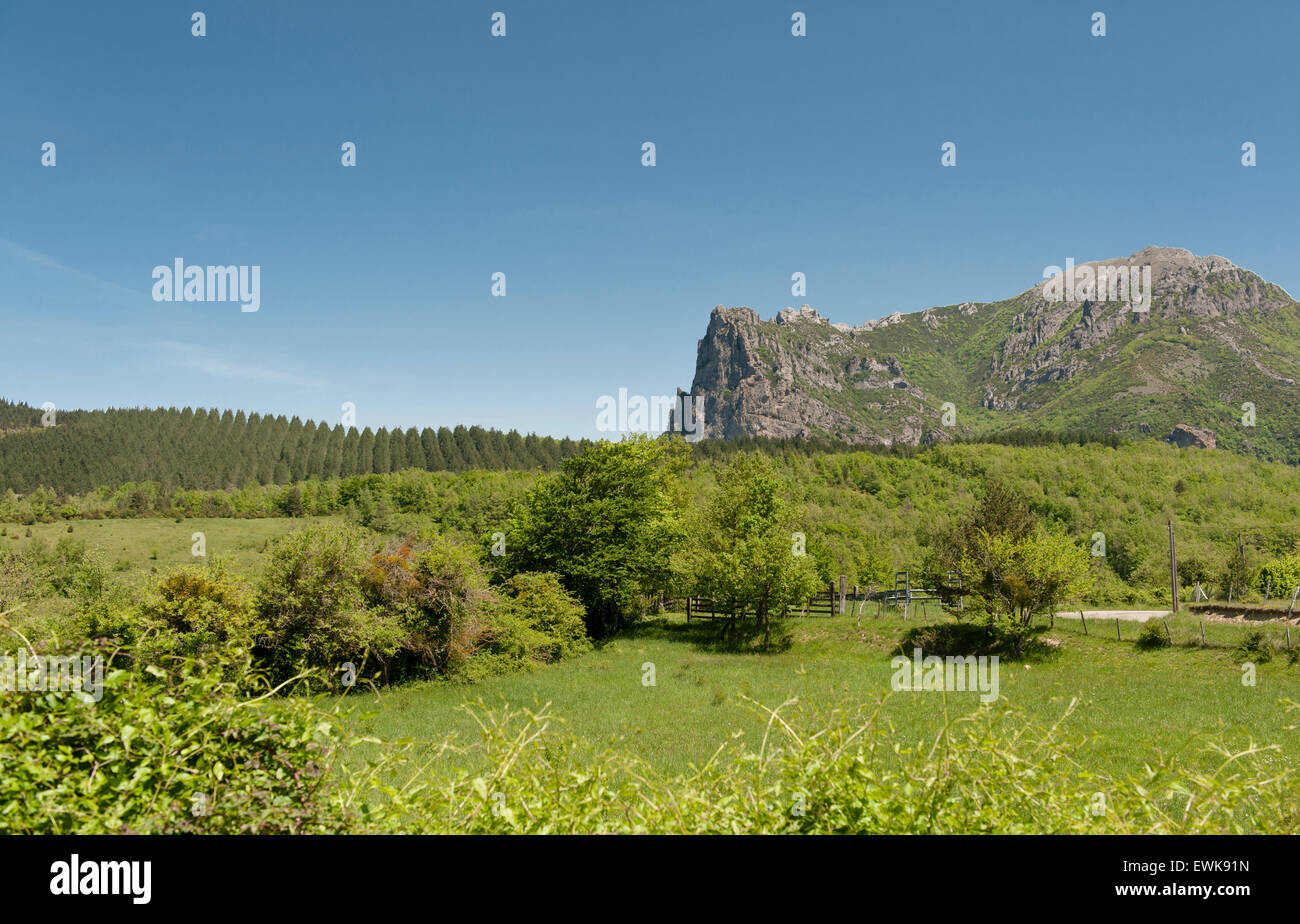 The legendary Pech (or Pic) de Bugarach, known as survival place for the end of the world and UFO sightings, Aude, - Stock Image