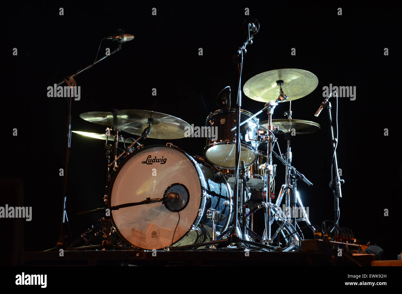 Mark Barrett S Ludwig Drum Kit On Stage For The Hoax Concert Stock