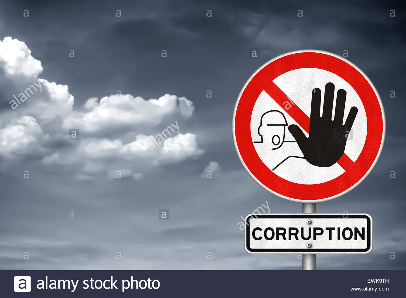 Stop with the corruption - Stock Image