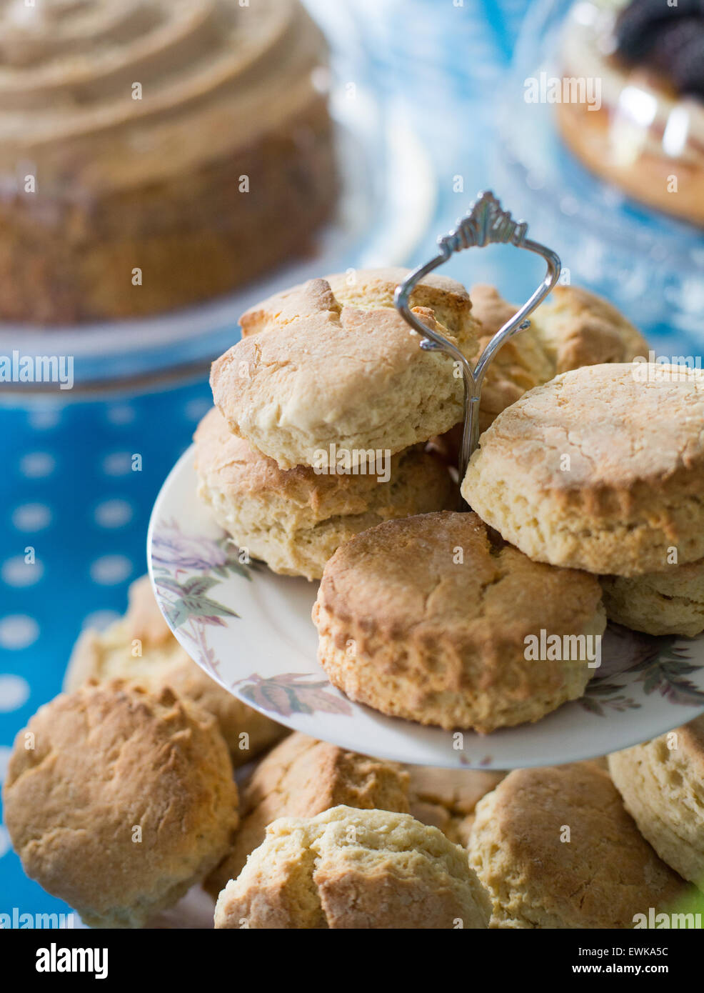 Scones on a Cake Stand - Stock Image