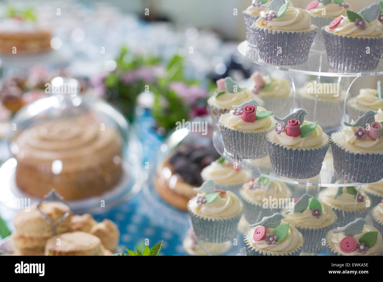 Cup Cakes on Cake Stand - Stock Image
