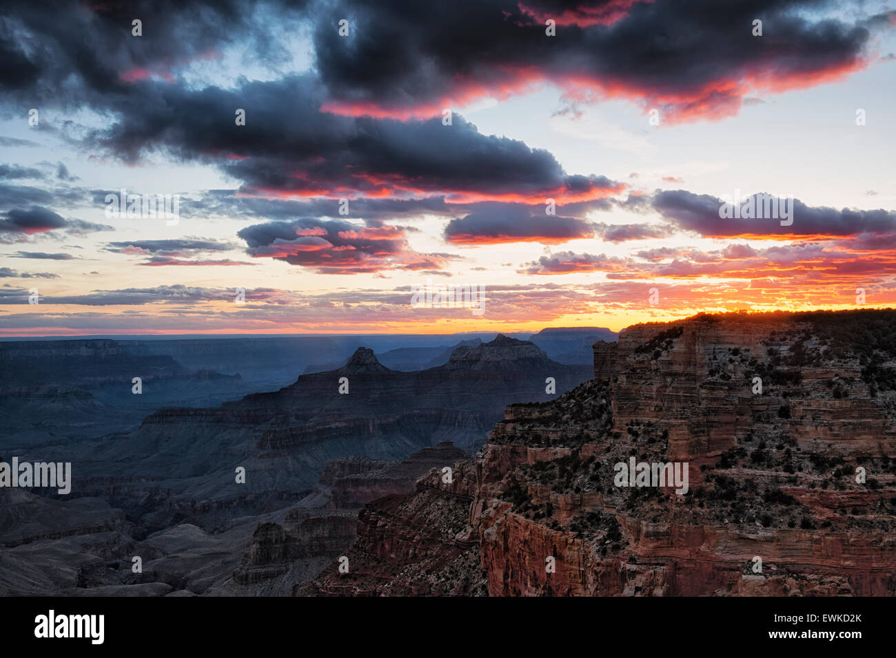 Fiery sunset from Cape Royal on the North Rim of Arizona's Grand Canyon National Park. - Stock Image