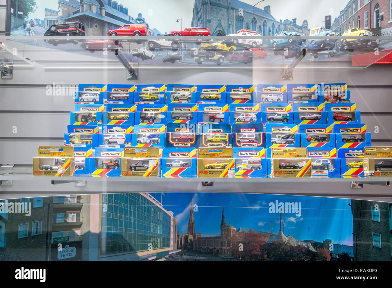 Vintage Matchbox cars on display in a case Stock Photo