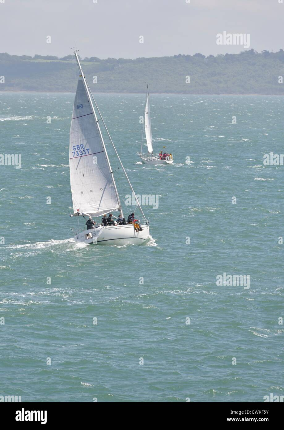 Sailing yachts under sail on the Solent, England - Stock Image