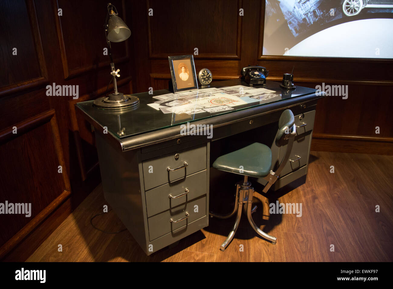 1940s era office display at Coventry Transport Museum - Stock Image