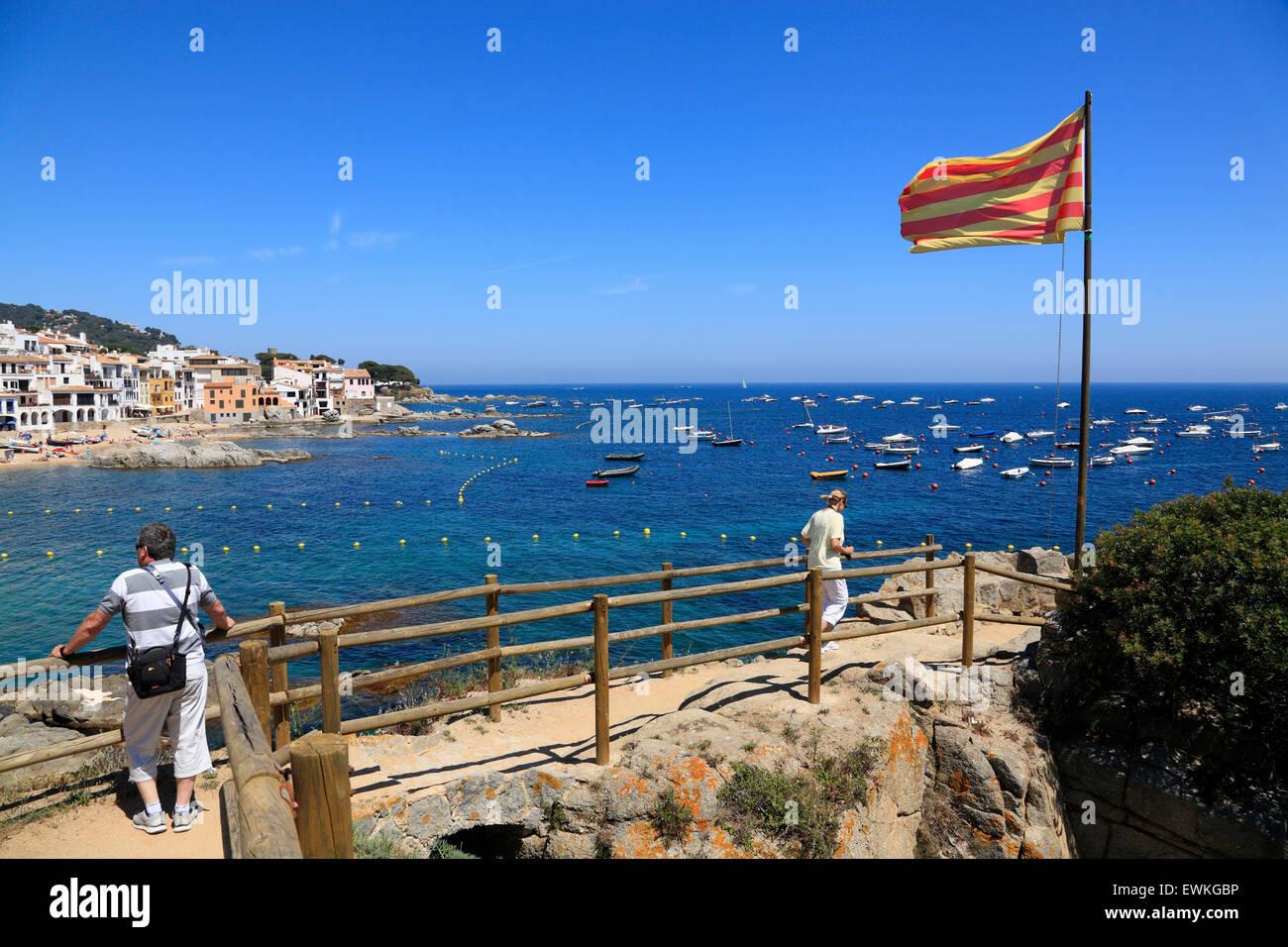 outlook at Calella de Palafrugell beach, Costa Brava, Catalonia, Spain, Europe - Stock Image