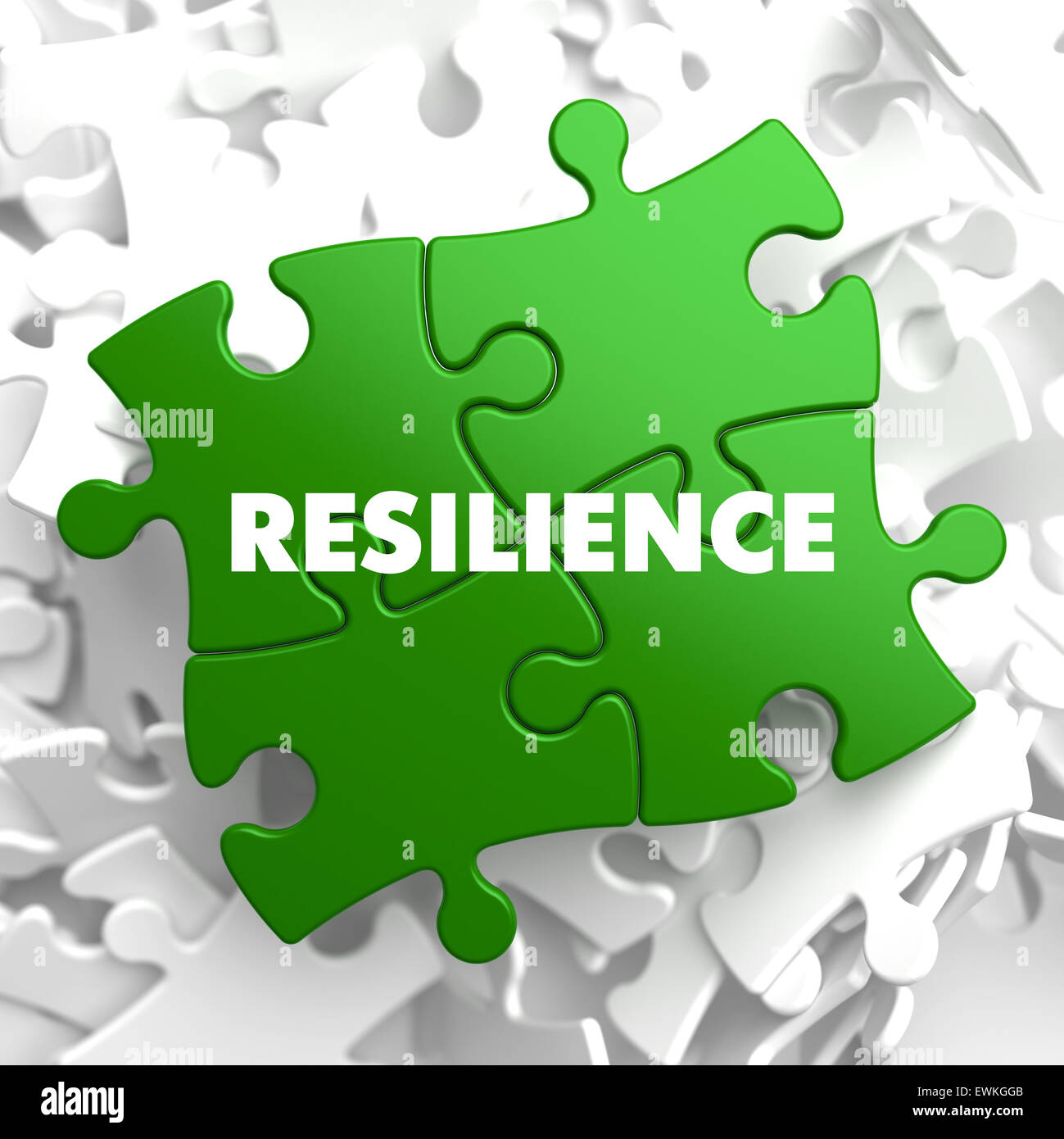 Resilience on Green Puzzle. - Stock Image