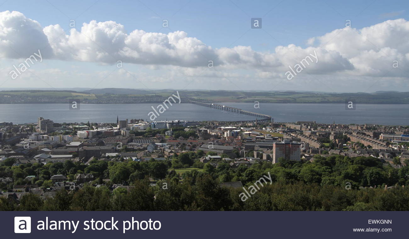 University of Dundee and Tay Rail bridge from Dundee Law Scotland  June 2015 - Stock Image
