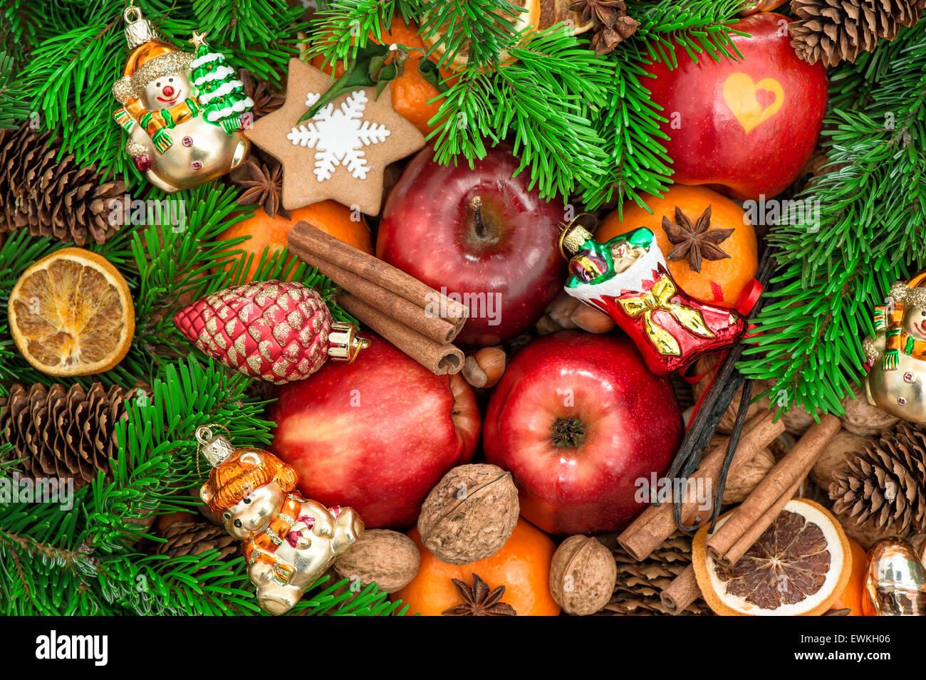 Christmas Tree Fruit Ornaments.Christmas Ornaments And Decorations Apples Mandarin Fruits