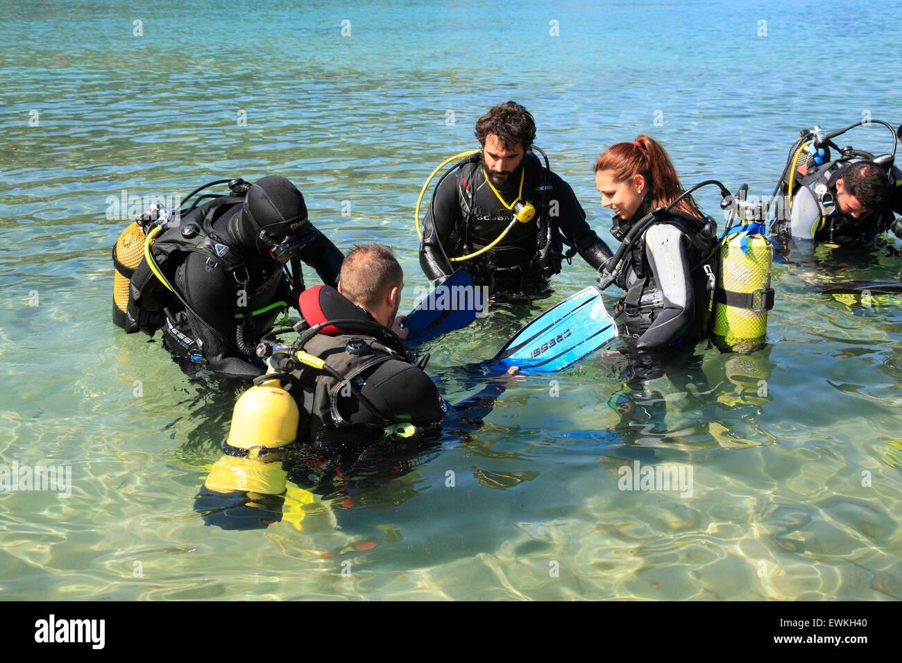 Diving lessons at Aiguablava beach near Begur, Costa Brava, Catalonia, Spain, Europe - Stock Image