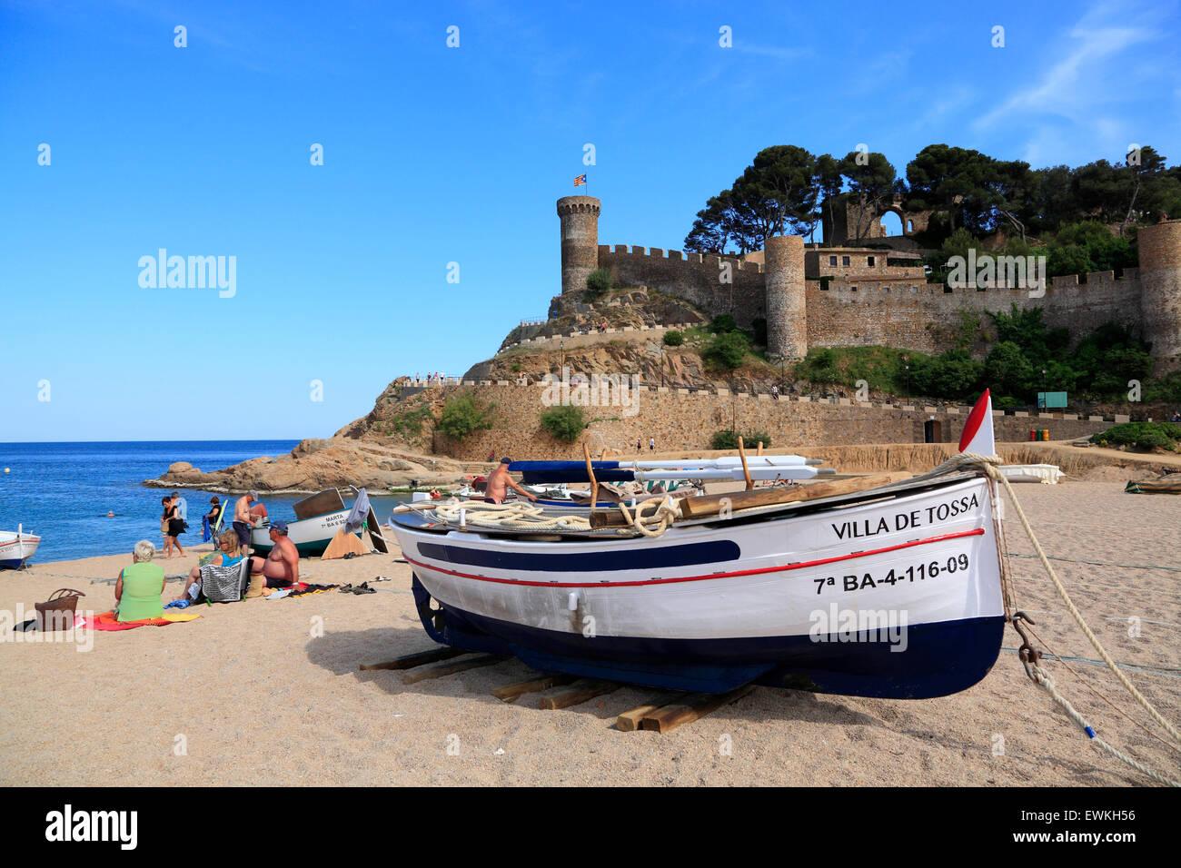 Tossa de Mar, boat on the beach, Costa Brava, Catalona, Spain, Europe - Stock Image
