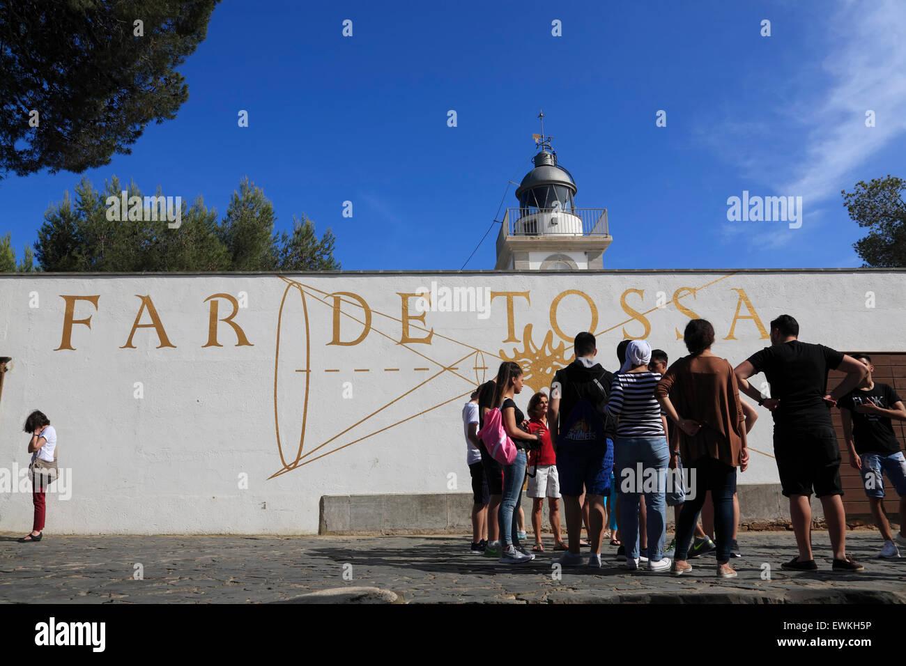 Tossa de Mar, tourist group at  lighthouse, Costa Brava, Catalona, Spain, Europe - Stock Image