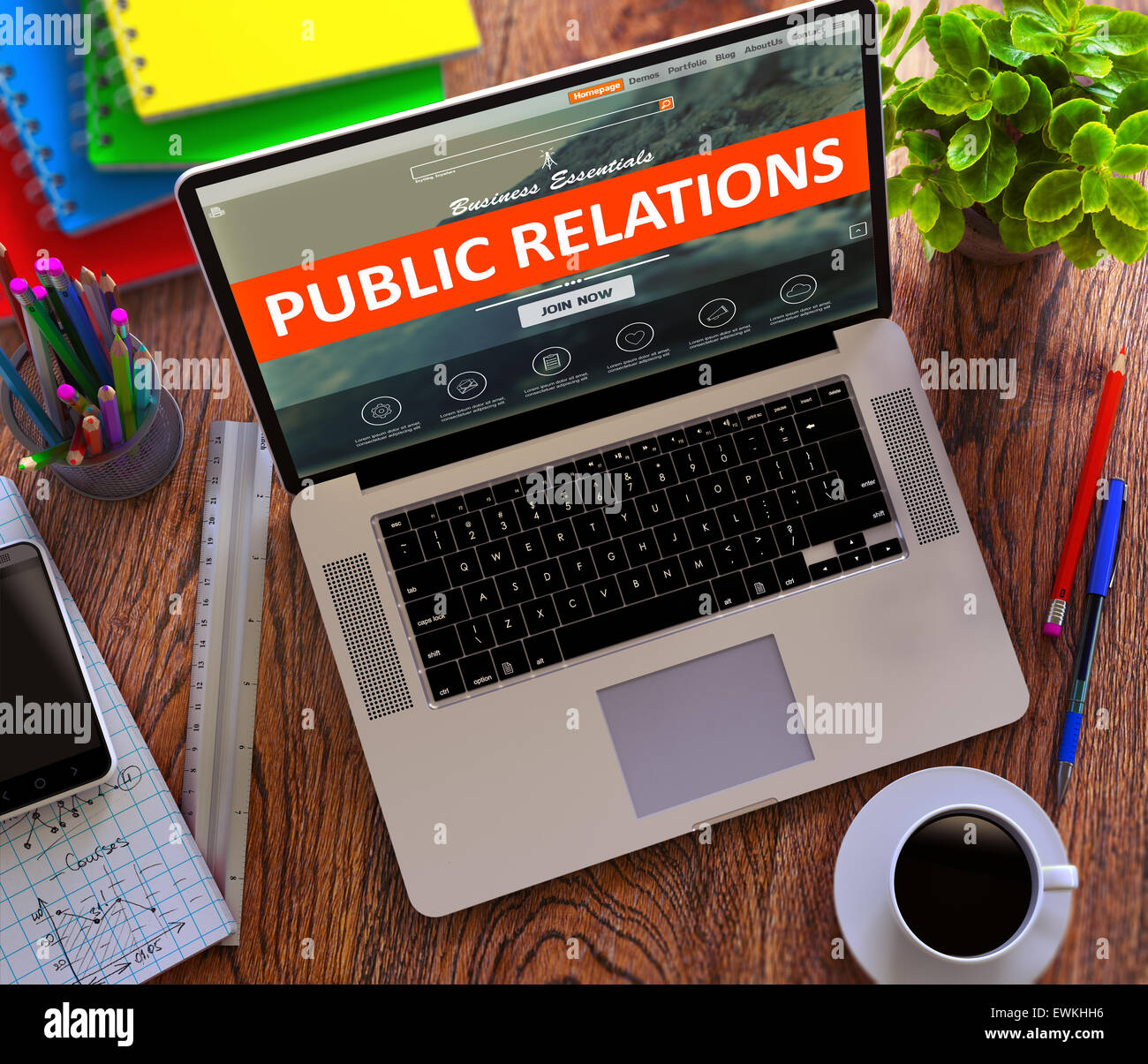 Public Relations. Online Working Concept. - Stock Image