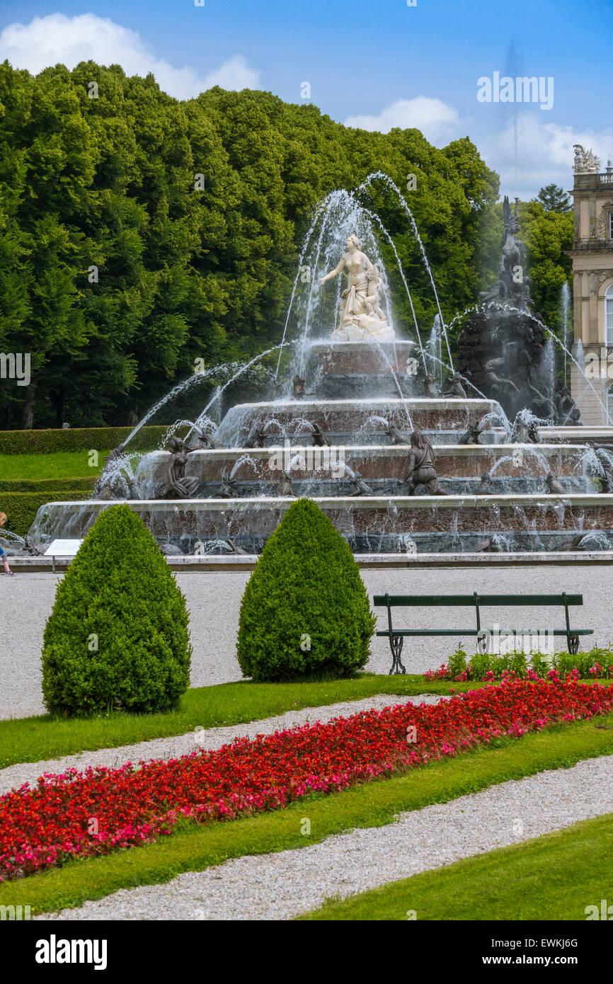 Latona Fountain, Herrenchiemsee Palace, Herreninsel, Gentleman's Island, Lake Chiemsee, Chiemgau, Upper Bavaria, Stock Photo