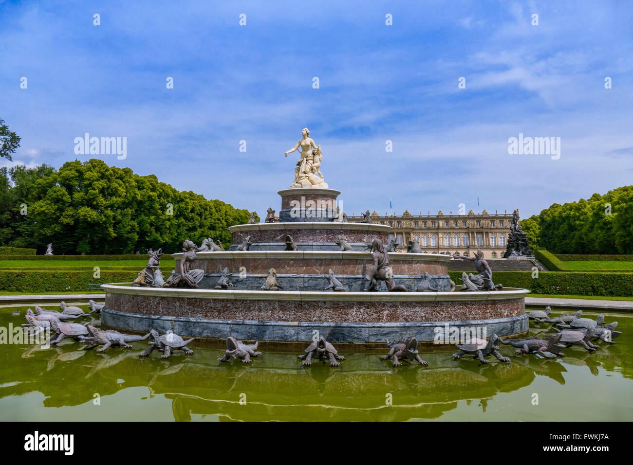Latona Fountain, Herrenchiemsee Palace, Herreninsel, Gentleman's Island, Lake Chiemsee, Chiemgau, Upper Bavaria, - Stock Image