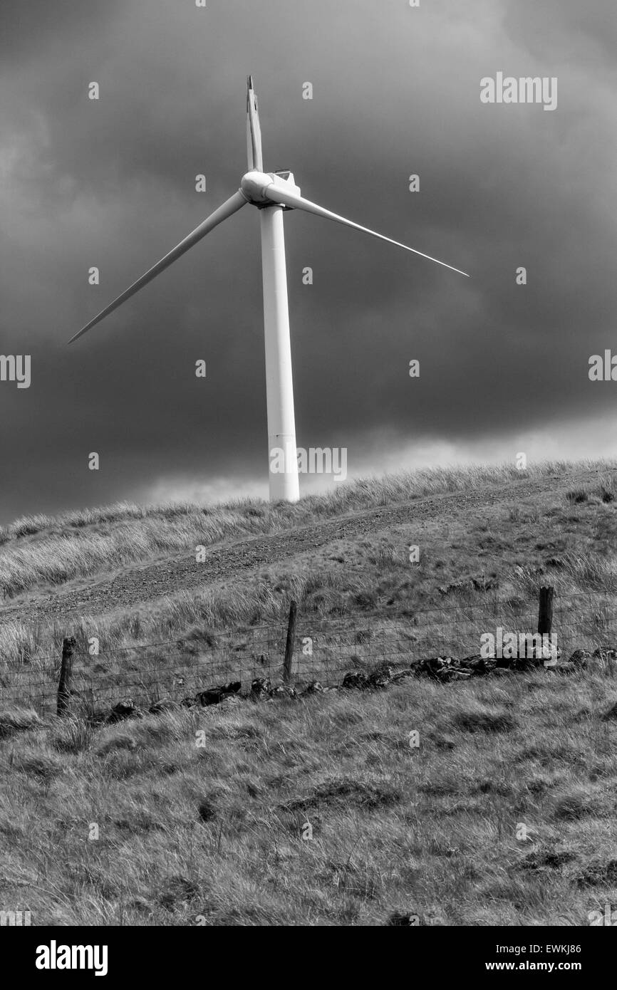Wind Turbine with Broken Blade - Stock Image