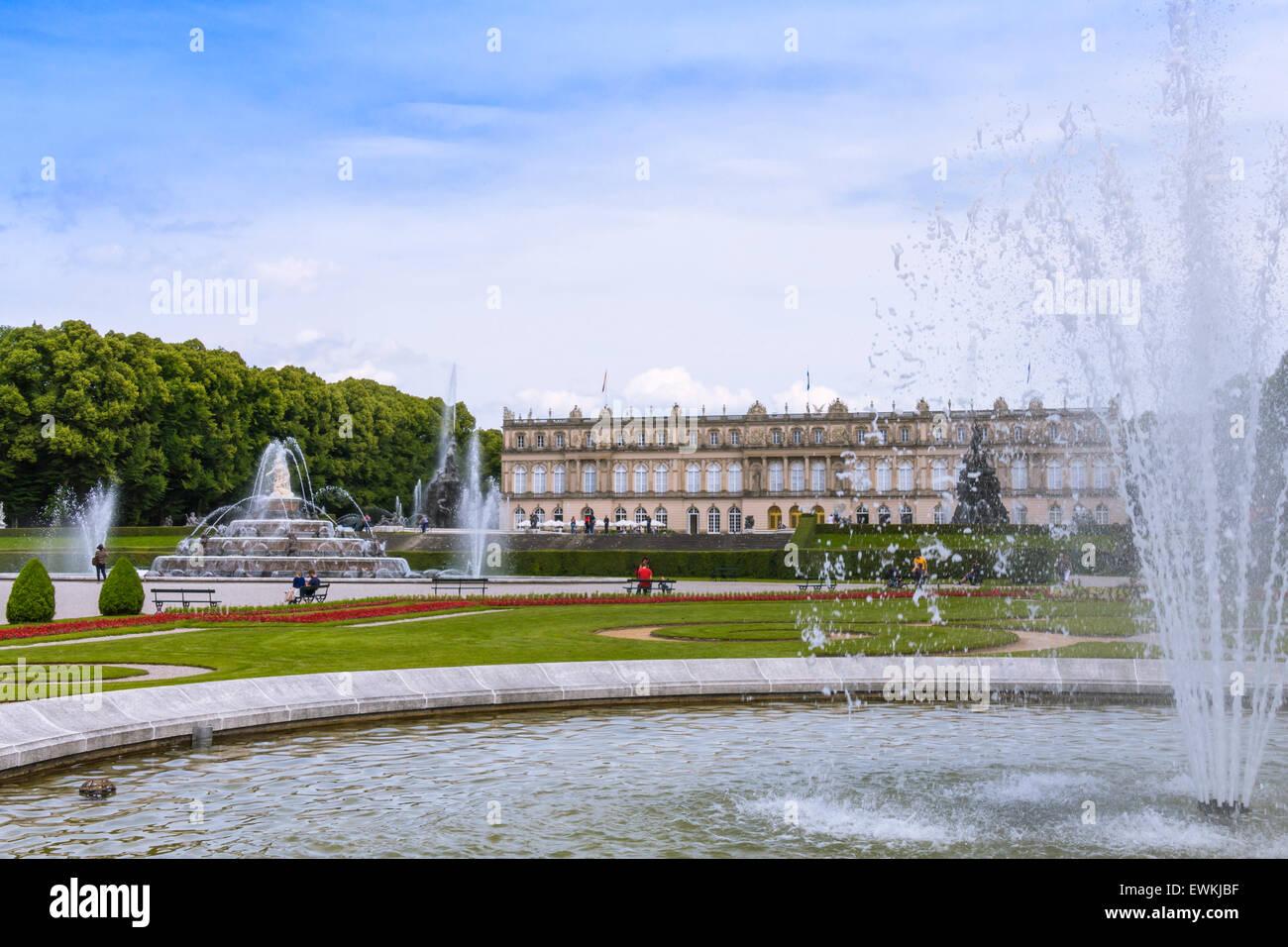 Herrenchiemsee Palace, palace gardens, Herreninsel, Chiemsee, Chiemgau, Upper Bavaria, Bavaria, Germany, Europe - Stock Image