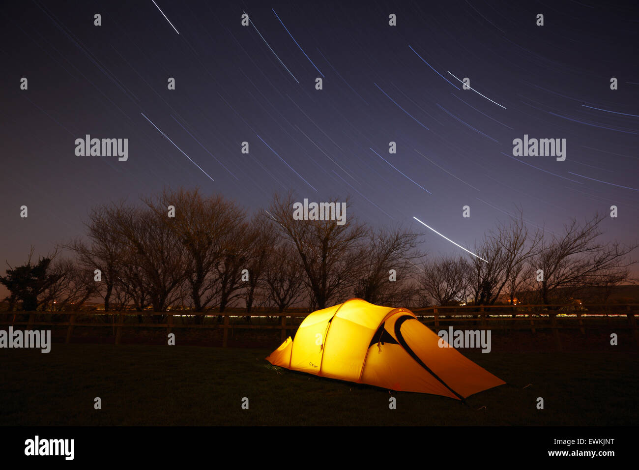 Camping under the stars. Devon. UK. - Stock Image