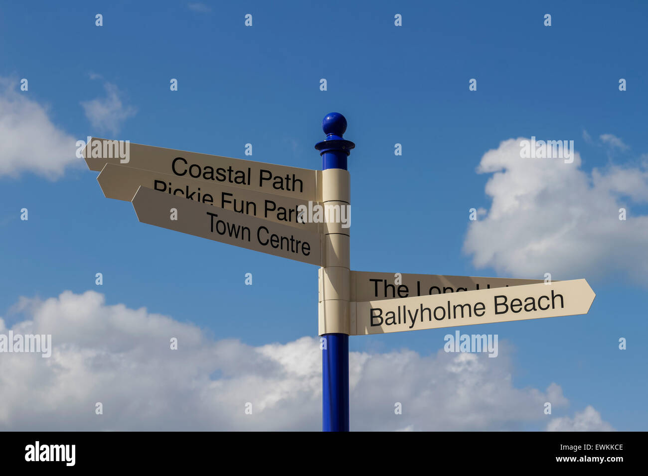 Sign in Bangor, Co. Down giving directions to local points of interest - Stock Image