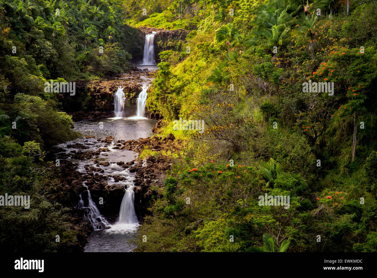 UmaUma Falls. Hawaii, The Big Island. - Stock Image