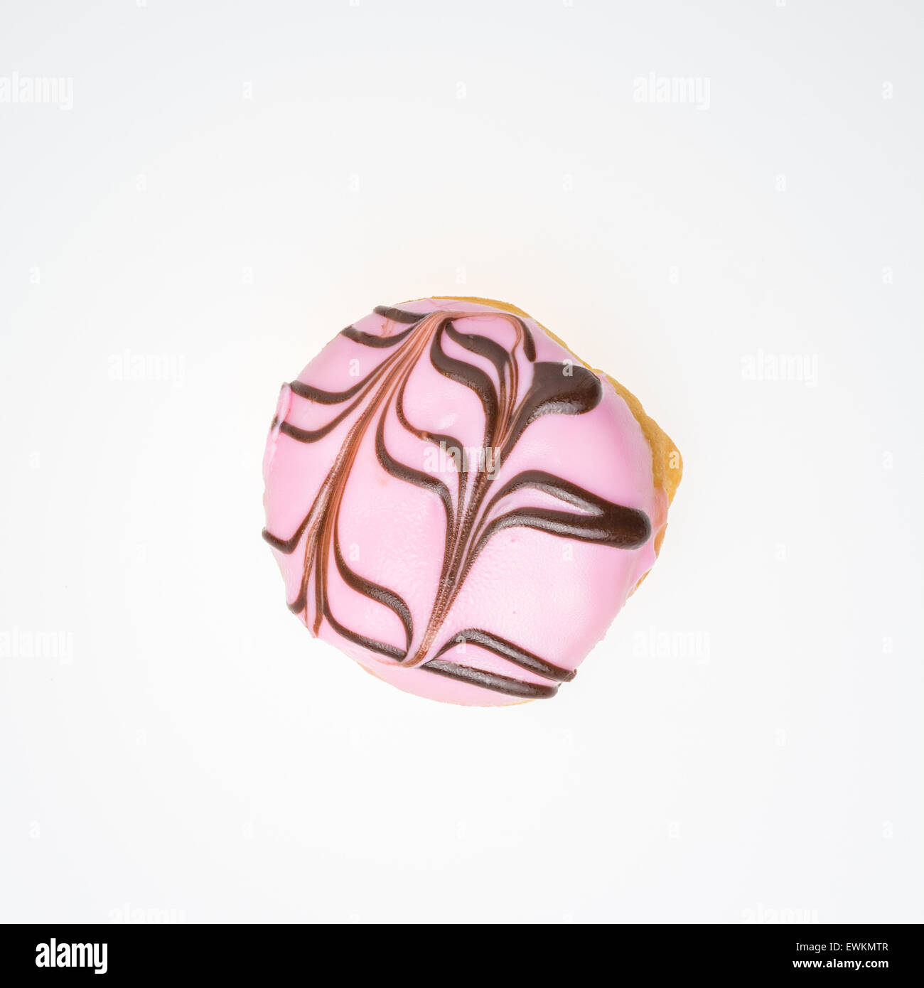 Strawberry flavored donut. Topped with chocolate isolated on White Background - Stock Image