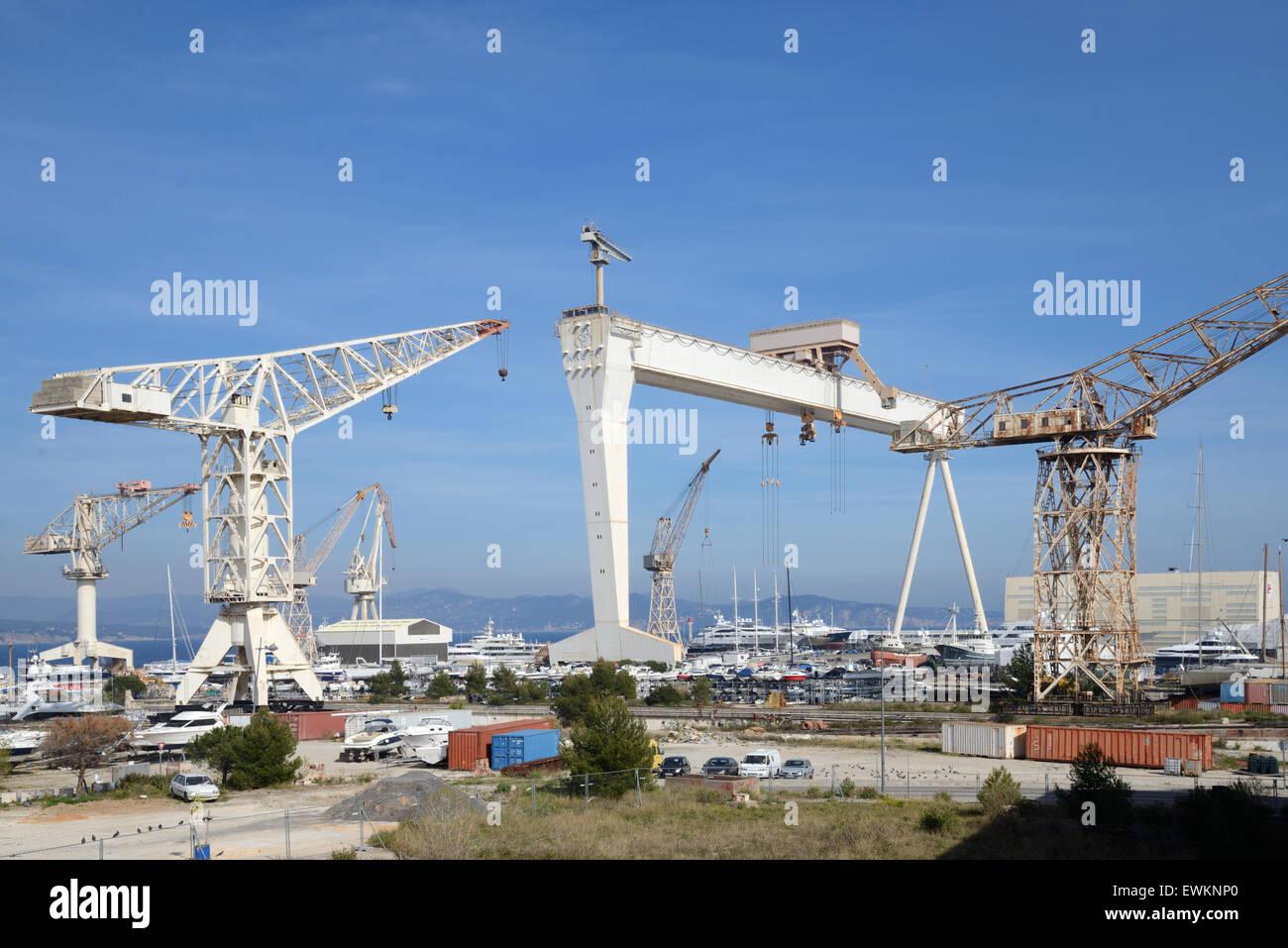 Giant Cranes of the Chantier Naval Boatyard or Shipyard at La Ciotat Provence France - Stock Image