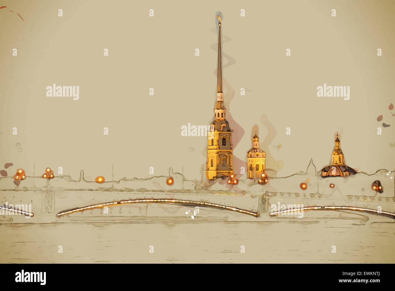 The Peter and Paul Fortress - Stock Vector