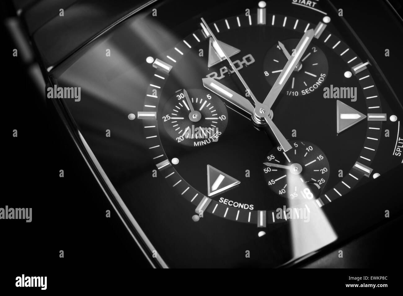 Saint-Petersburg, Russia - June 18, 2015: Rado Sintra Chrono, Mens Chronograph Watch made of black high-tech ceramics - Stock Image