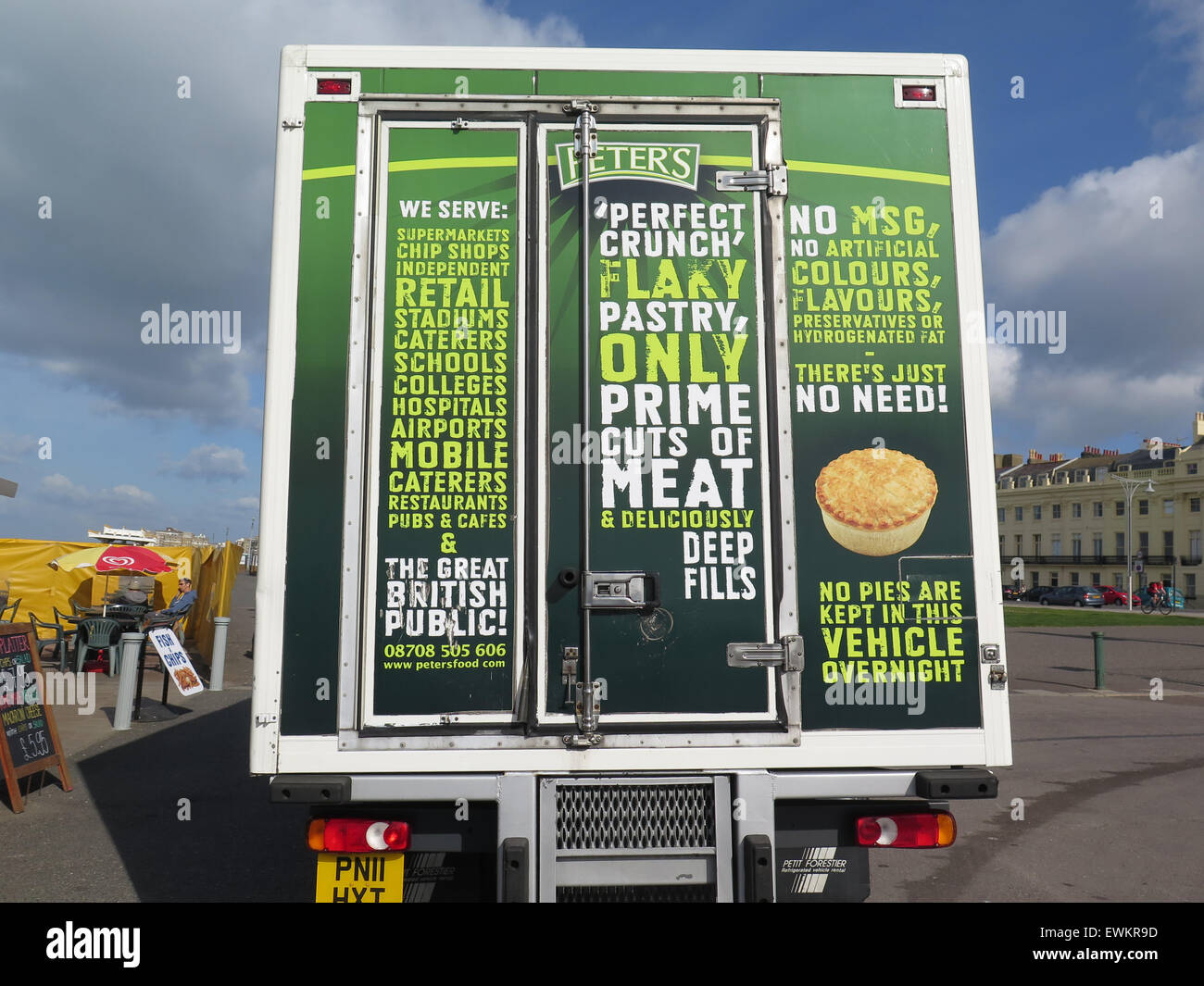 The back of a 'Peters Pies' delivery lorry with a warning to thieves: 'No pies are kept in the vehicle - Stock Image