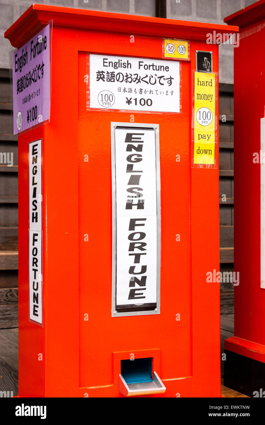 Japan, Kyoto, Golden temple. Red automatic fortune telling vending machine. 'English fortune' 'hard - Stock Image