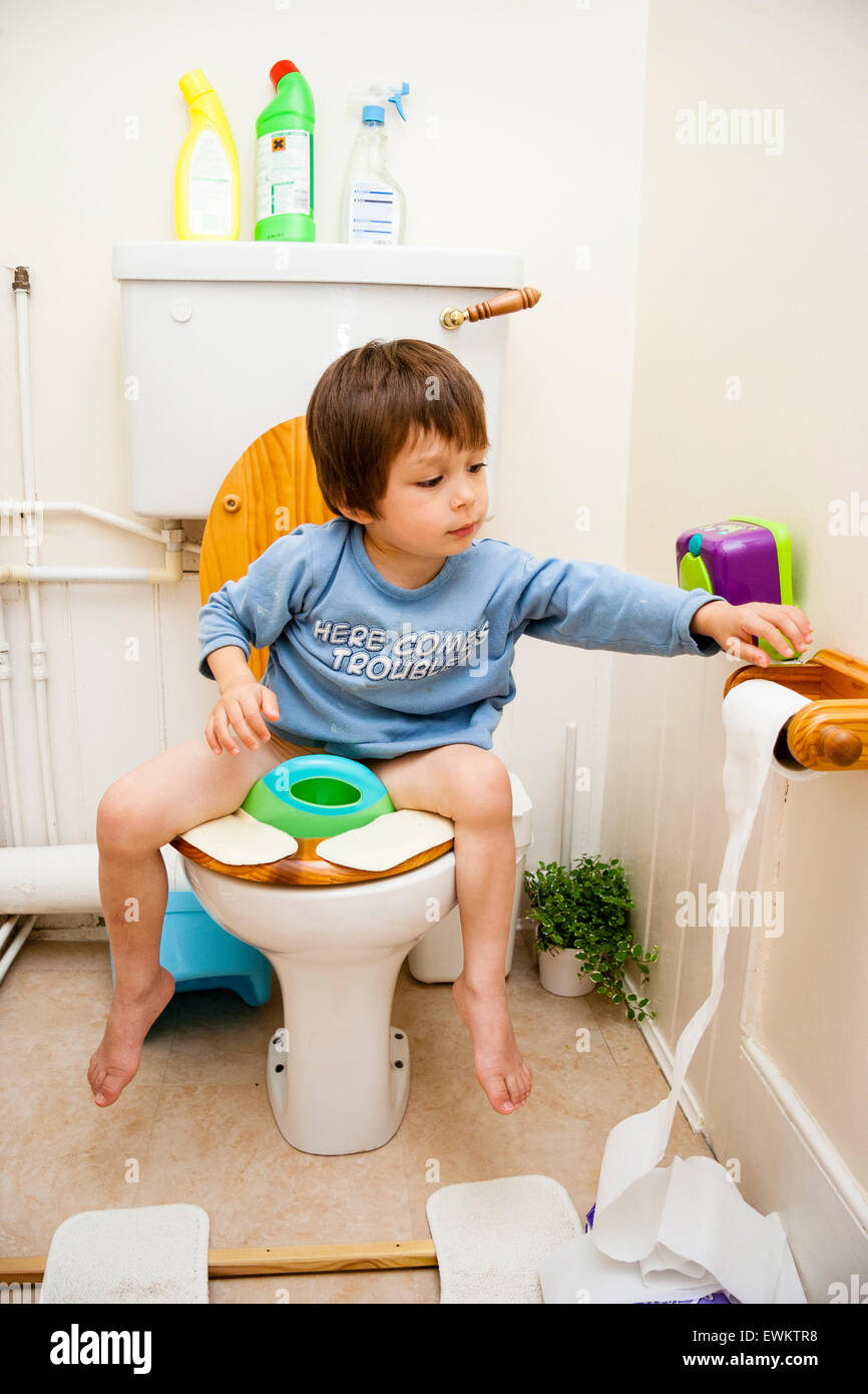 Strange 3 To 5 Year Old Caucasian Boy Sitting On Toilet Seat Front Bralicious Painted Fabric Chair Ideas Braliciousco