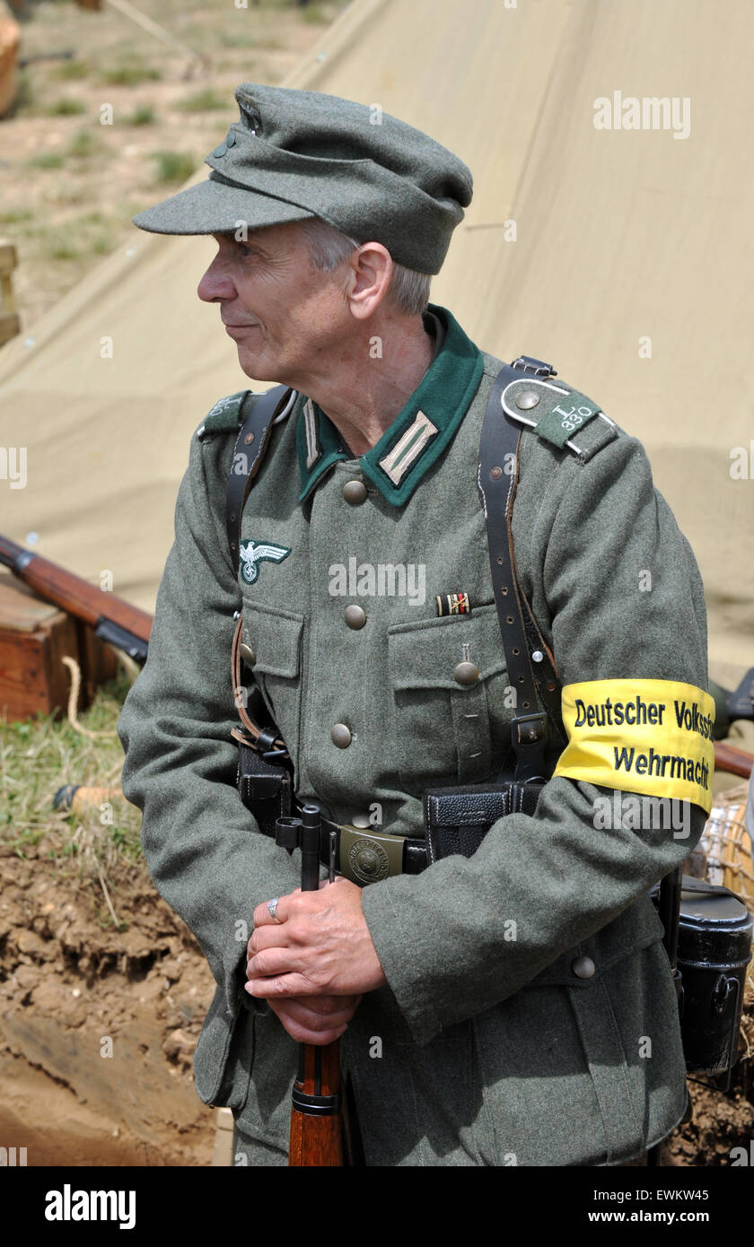 Man in uniform of German Peoples Army soldier.  Tank Fest at Bovington in Dorset.  The two day event showing off Stock Photo