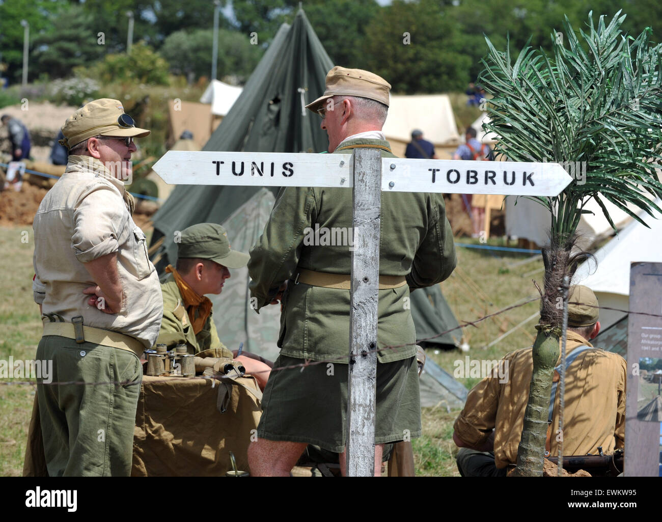 Men dressed as German Africa Korps  soldiers. Tank Fest at Bovington in Dorset.  The two day event showing off armoured - Stock Image