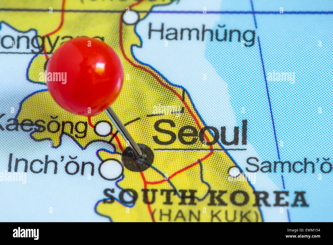 Close Up Of A Red Pushpin On A Map Of Seoul South Korea Stock Photo