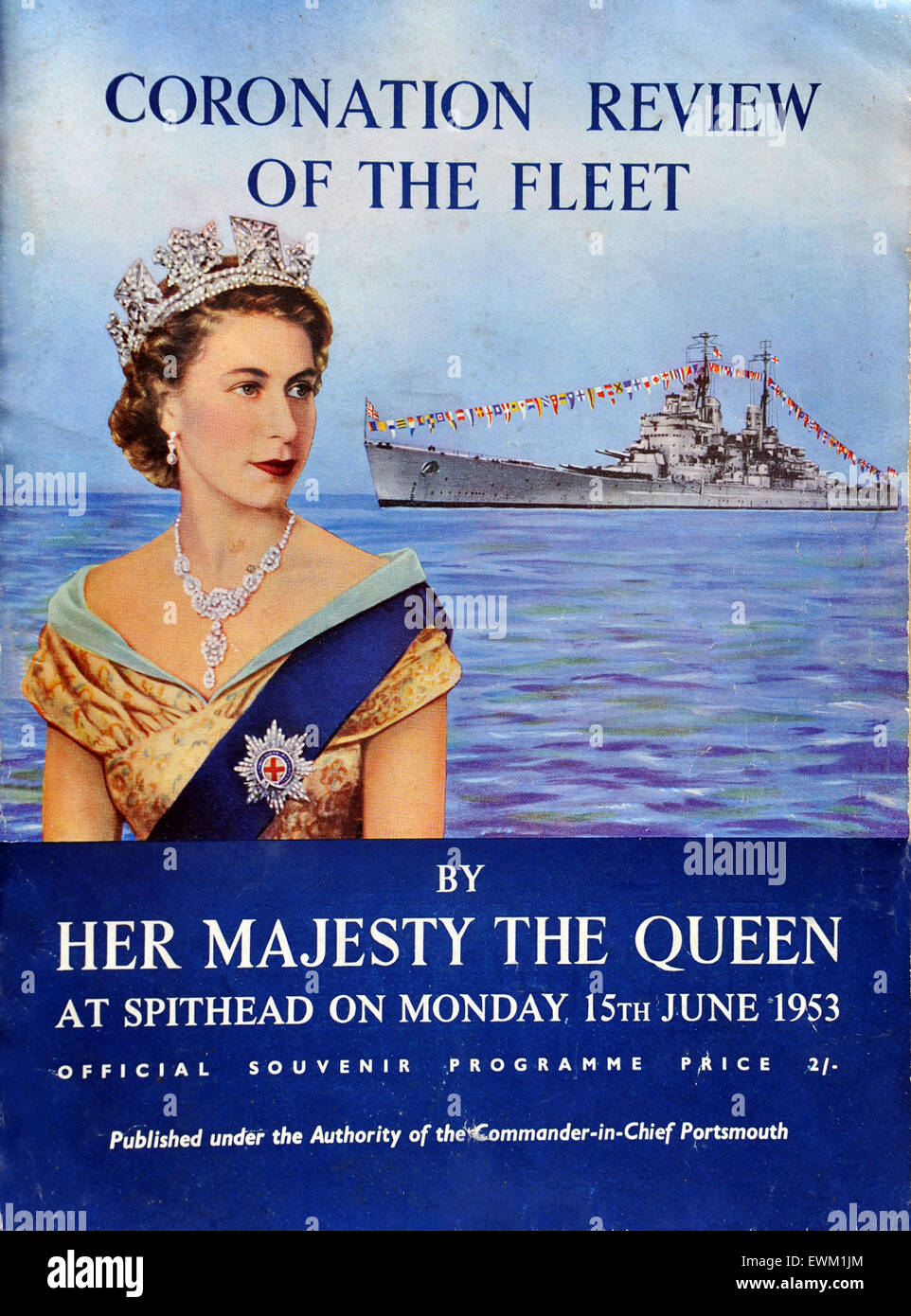 Coronation Naval Fleet Review programme at Spithead near Portsmouth for Queen Elizabeth II from 1953. Britain. - Stock Image