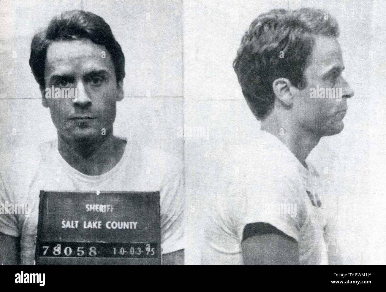 Ted Bundy, Theodore Robert 'Ted' Bundy, American serial killer, kidnapper, rapist, and necrophile - Stock Image