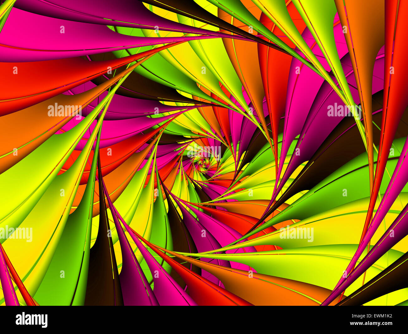 Colorful Fractal Spiral Background Texture - Stock Image