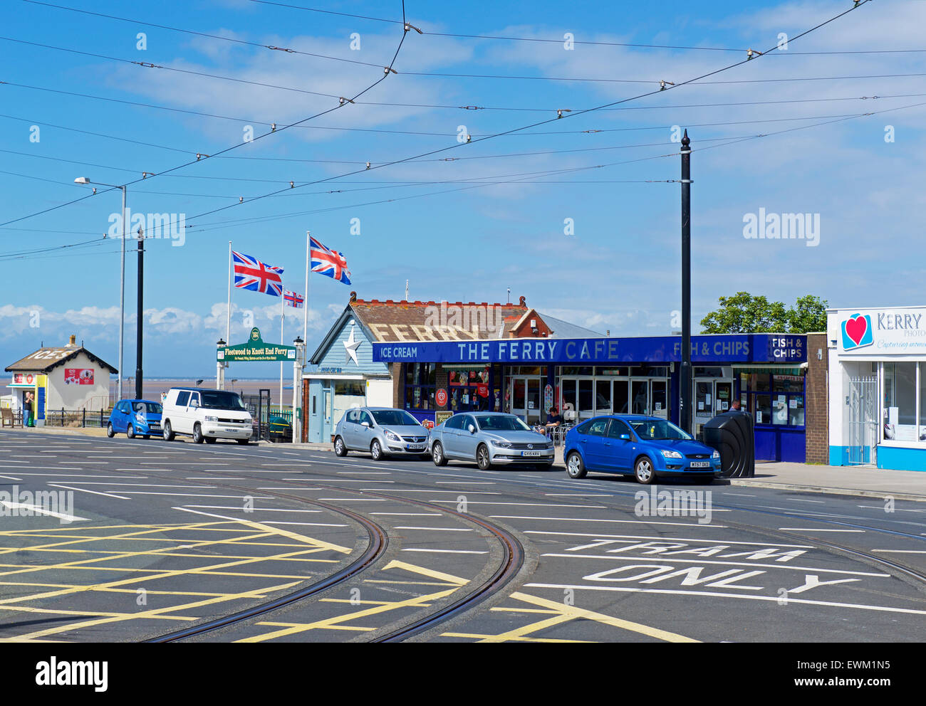 Tram tracks, Fleetwood, Lancashire, England UK - Stock Image