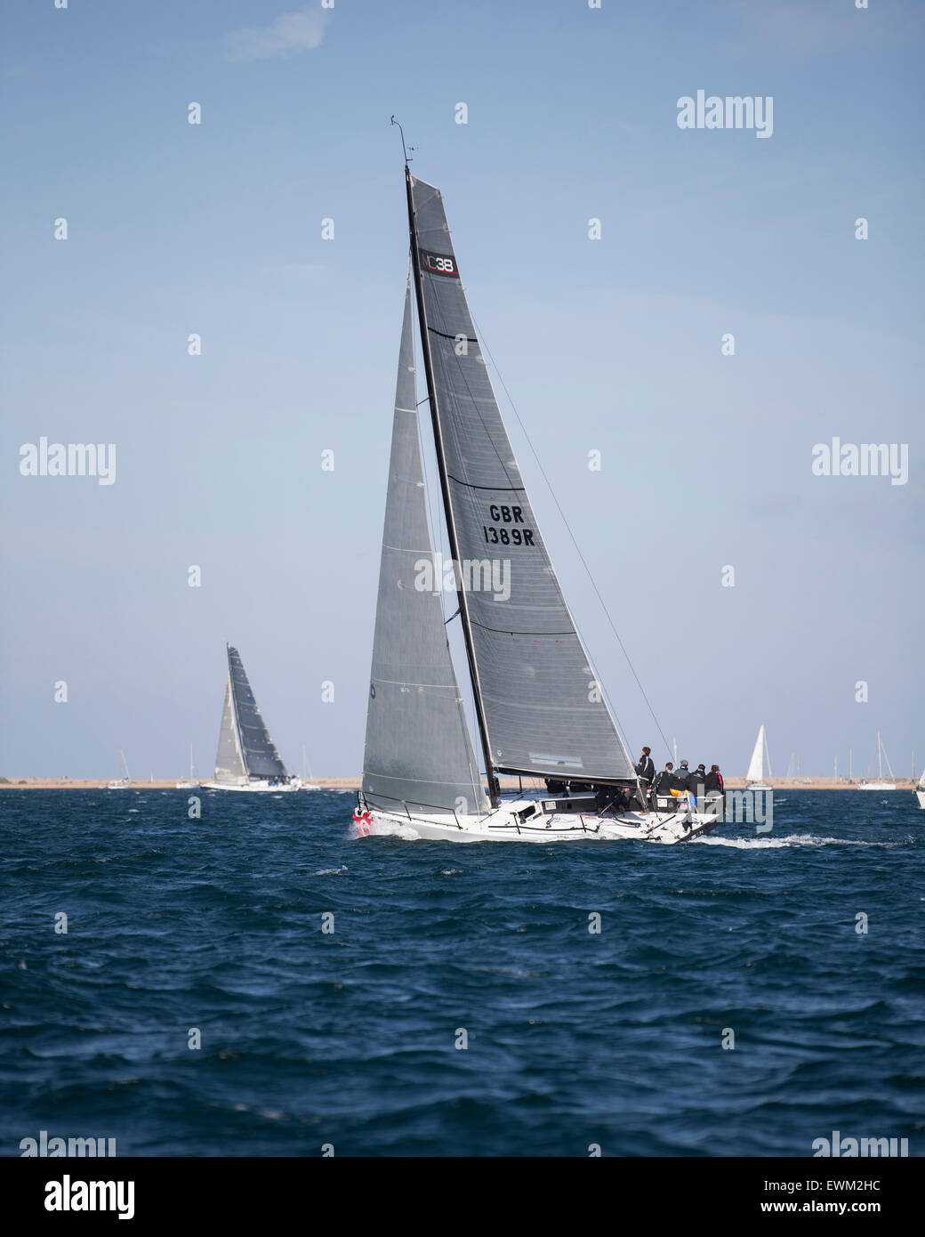 UK. 27th June, 2015. Maconachy 38 GBR 1389R 'Jubilee' taking part in the 2015 Round the Island Race Credit: - Stock Image