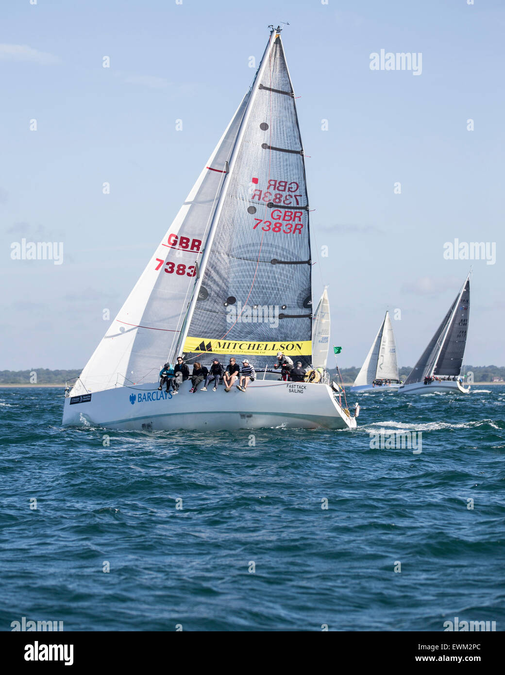 UK. 27th June, 2015. Clipper Reflex 38 GBR 7383R 'Fast Tack Sailing' taking part in the 2015 Round the Island - Stock Image