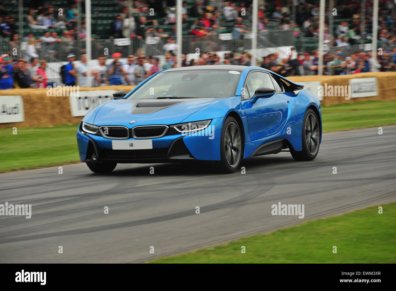 A hybrid BMW i8 at the Goodwood Festival of Speed. Racing drivers ...