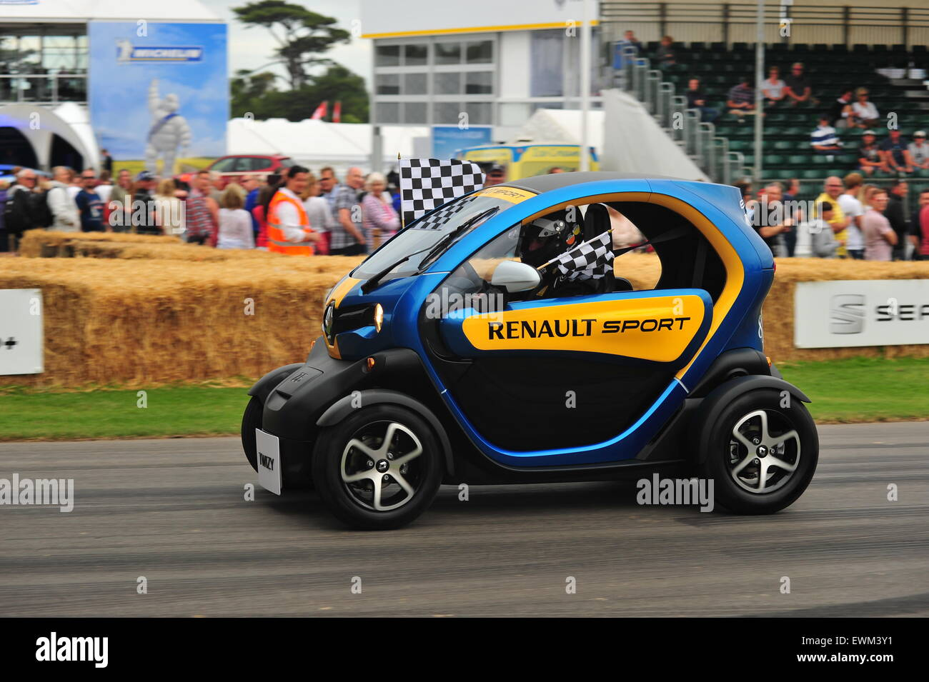 An electric Renault Twizy at the Goodwood Festival of Speed. Racing drivers, celebrities and thousands of members Stock Photo