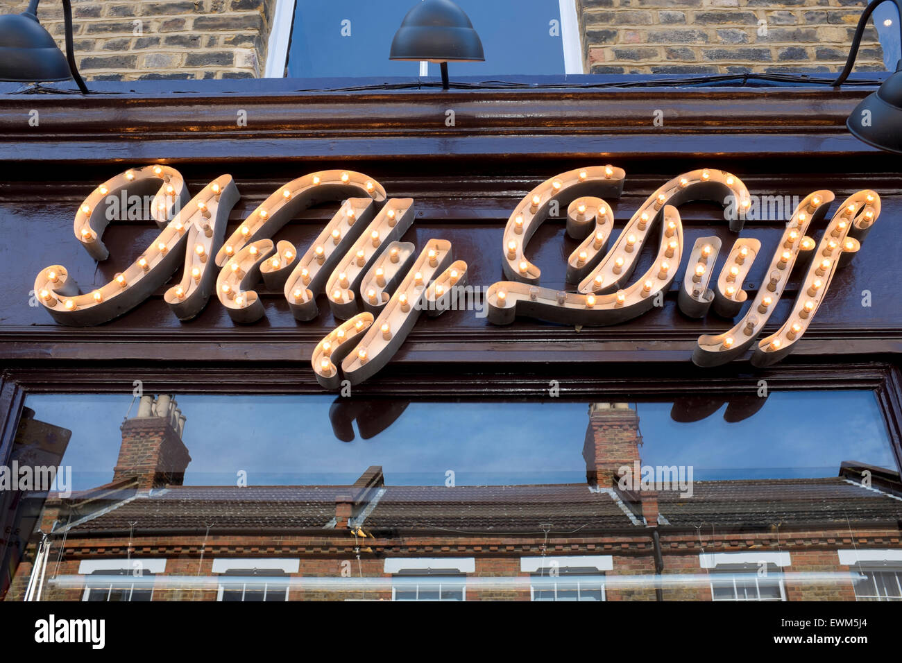 Nelly Duff Shop Sign Columbia Road Market London - Stock Image