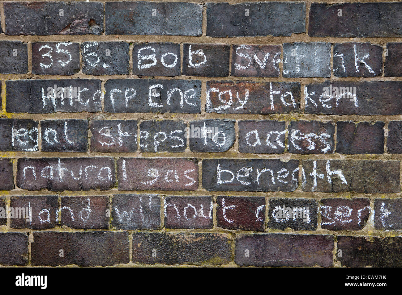Memorial Wall listing the dead, injured & sick suffering from maladies alleged to be attributable to gas extraction - Stock Image