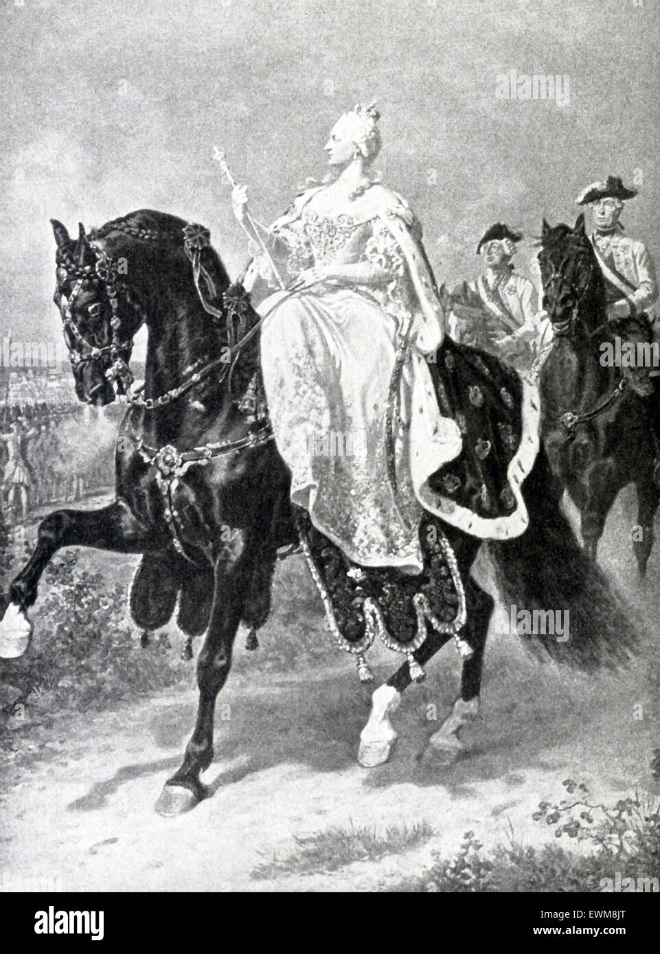 Here we see Maria Teresa, empress of Austria (1740-1780) reviewing her troops, from a painting by the German historical - Stock Image
