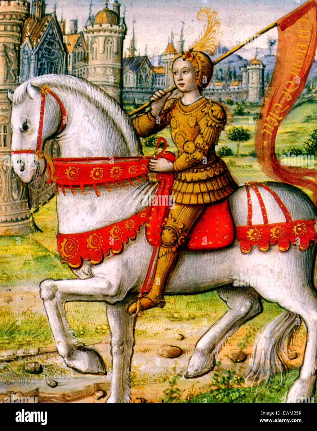 Joan of Arc depicted on horseback in an illustration from a 1505 manuscript. - Stock Image