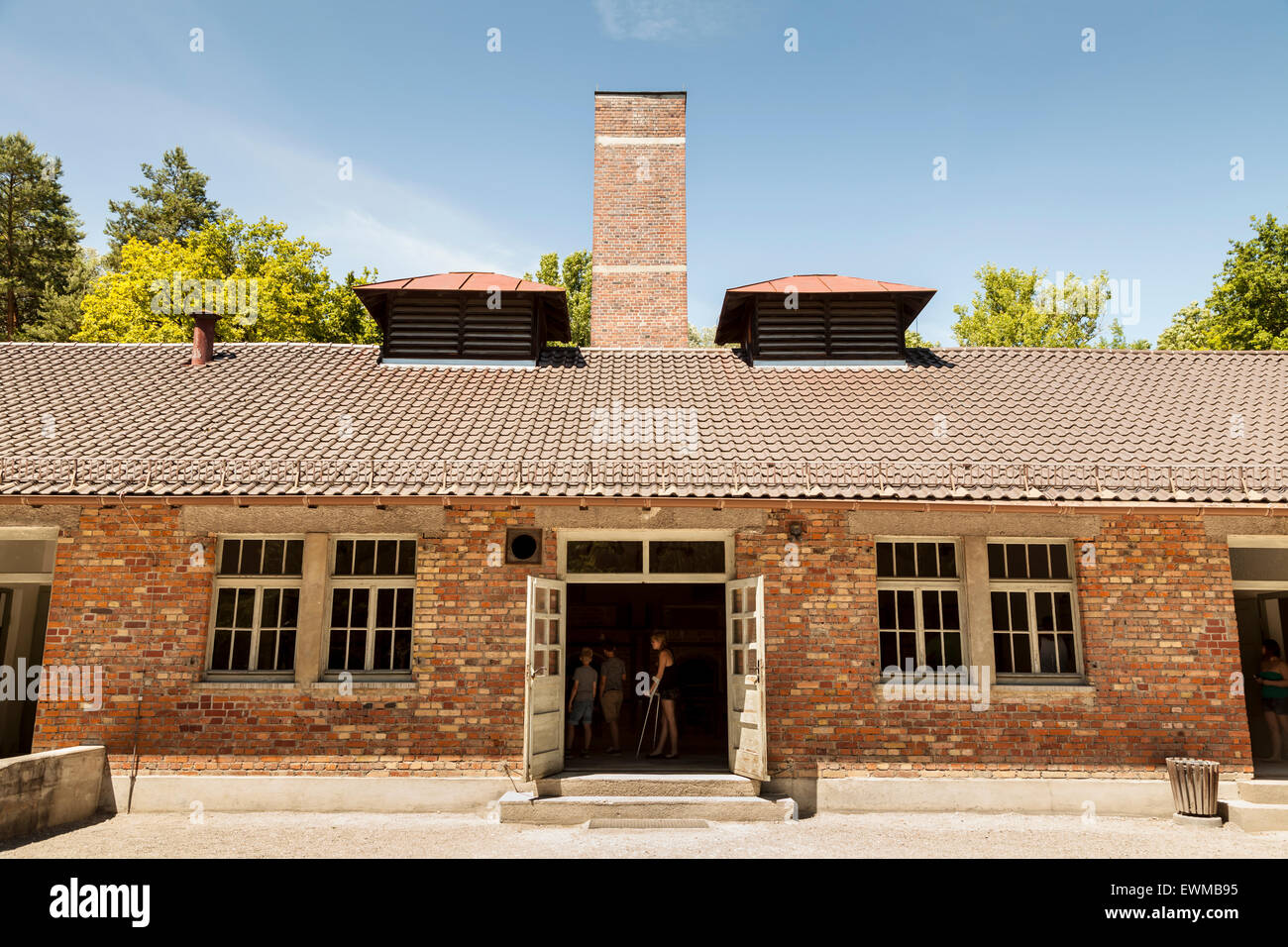 The crematorium also known as Barrack X at Dachau concentration camp. - Stock Image