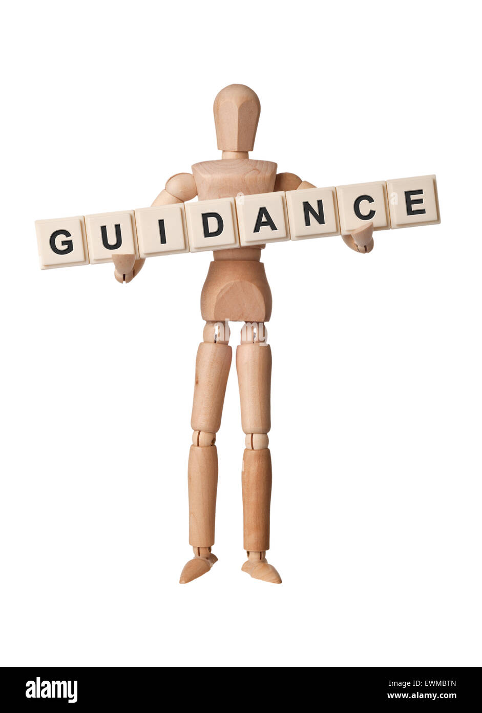 Wooden figurine with the word GUIDANCE isolated on white background - Stock Image