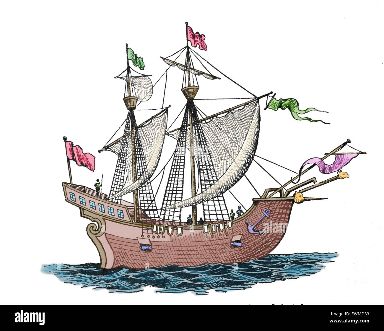 Victoria. Spanish carrack. 1st ship to successfully circumnavigate the World. 1518-19. Explorers: F. Magellan and - Stock Image